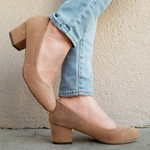 Taupe Vegan Suede Round Toe Chunky Heel Pump-D
